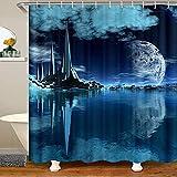Cortina de ducha náutica de tela de océano para niños y niñas, accesorios impermeables con ganchos Galaxy paisaje natural, 177 x 172 cm