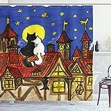 ABAKUHAUS Katze Duschvorhang, Zwei Liebhaber Katzen mit Sky, Leicht zu pflegener Stoff mit 12 Haken Wasserdicht Farbfest Bakterie Resistent, 175 x 200 cm, Multi