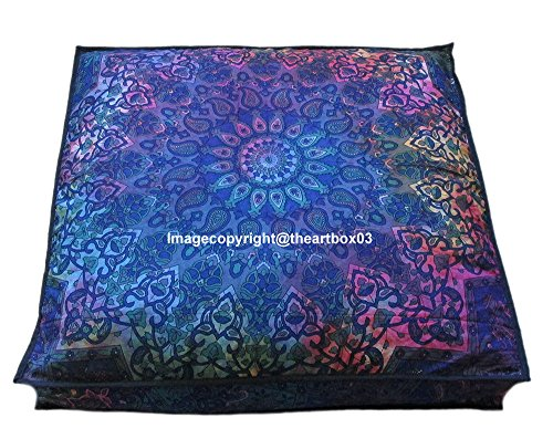 "The Art Box Indian Tie Dye Star Mandala Floor Pillow Square Ottoman Pouf Daybed Oversized Cushion Cover Cotton Seating Ottoman Poufs Dog/Pets Bed 35"" (Cover + Insert)"