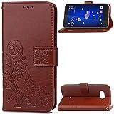 HTC Desire 12Plus Wallet Stand Case, Knurling Flower Grass