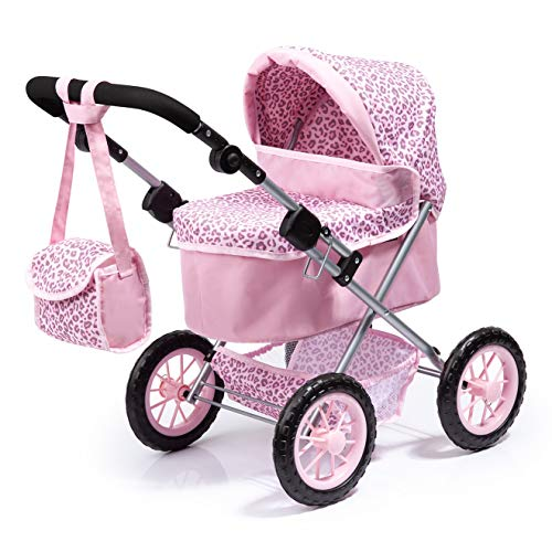 Bayer Design- Cochecito Trendy con Bolsa, Ajustable, Carrito de muñeca, Color rosa con estampado de leopardo (13002AA)