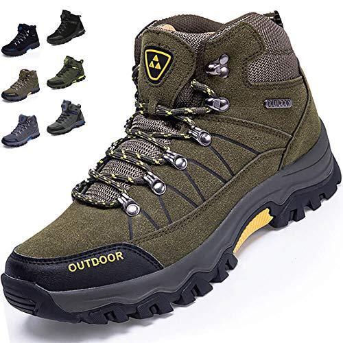 [VITIST] トレッキングシューズ メンズ ハイキングシューズ 防水 登山靴 アウトドアシューズ キャンプシューズ 革 防滑 3e ハイキング 靴 軽量 大きいサイズ グリーン 25.5cm