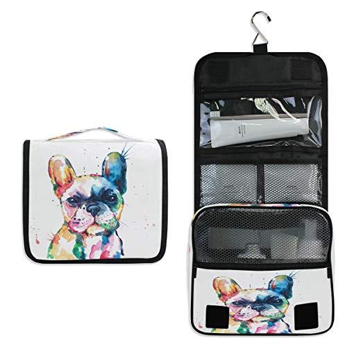 RXYY Bolsa de aseo para colgar de viaje, acuarela, diseño de bulldog...