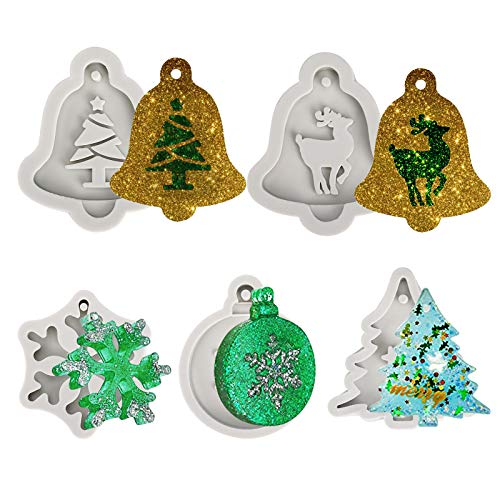 QH-Shop Silicone Stampi in Resina Albero di Natale Alce Fiocco di Neve Fai da Te Ciondolo Decorazione Stampi Natalizi con Foro per Appendere 5 Pezzi