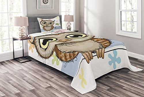 ABAKUHAUS Eulen Tagesdecke Set, Cartoon Schmetterling Hallo, Set mit Kissenbezug Romantischer Stil, für Einselbetten 170 x 220 cm, Multicolor
