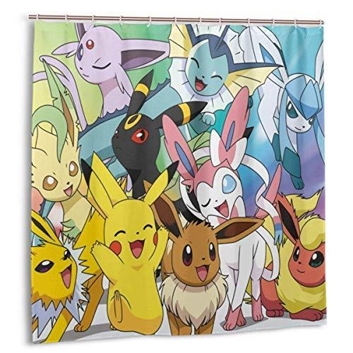 N \ A Pokemon Pikachu Duschvorhänge, langlebig, wasserdicht, Premium-Gewebe, dekorieren Sie Ihr Badezimmer, Dusche, Schrank & Badewanne, 183 x 183 cm