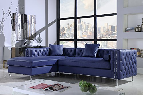 Iconic Home Da Vinci Left Hand Facing Sectional Sofa L Shape Chaise PU Leather Button Tufted with Silver Nailhead Trim Silvertone Metal Leg with 3 Accent Pillows, Modern Contemporary, Navy