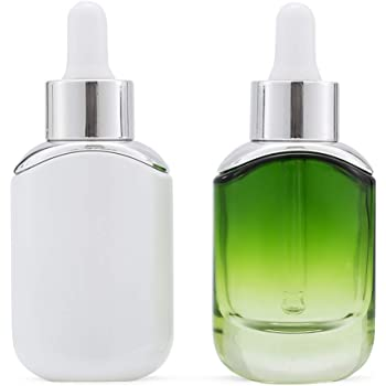 Dropper Bottle Small Empty Glass for Essential Oil Eye Dropper Bottles Refillable Travel Size Toiletry Containers Milky White & Gradient Green (1 Oz, 2 Pack)