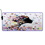 MISCERY Glowing Mouse Pad,Pink Butterfly Girl with Floral Dress Flower Design Fairy Angel Wings Dreamy Folklore,Gaming Mouse Pads, for Laptop Computer Games Office Home,Computer Mouse Mat