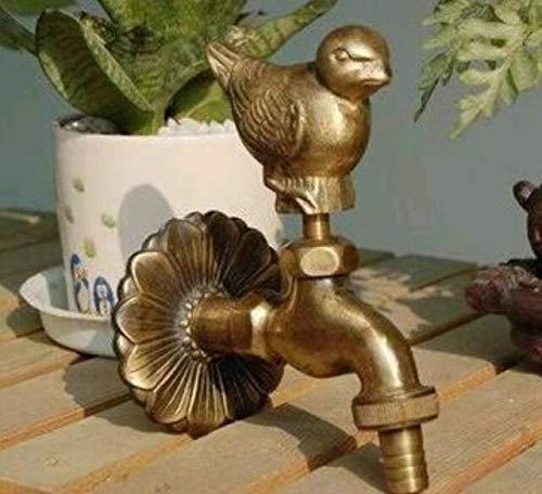 Yaoqingf Grifo Exterior Decorativo con Forma de Animal Rural jardín Bibcock con pájaro de gorrión de Bronce Antiguo Grifo de Paloma para Lavadora