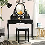 Tiptiper XL Makeup Vanity, Large Vanity Desk with 7 Drawers and 1 Movable Organizer, Vanity Set with Cushioned Bench for Women, Black