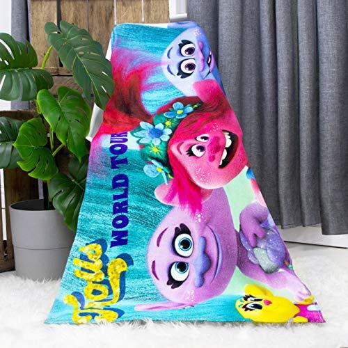 Toalla Oficial Trolls   Toalla de Baile Rosa y Morado, Tacto Super Suave, 100% algodón, hogar, Playa y Piscina, Color Azul 140 x 70 cm