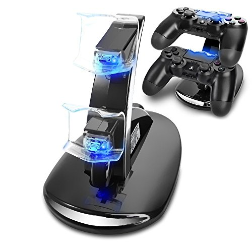 PS4 Controller Charger, Megadream Playstation 4 Charging Station for Sony PS4 / PS4 Pro / PS4 Slim DualShock 4 Controller, Dual USB Fast Charging Station Stand with LED Indicator Light