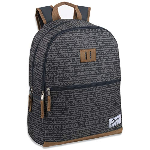 CLOTH BACKPACK: Rustic & rugged classic style geometric black & grey stripes complement its comfortable padded back & adjustable straps LASH TAB: Attach carabiner clip & go hiking, bring keys & work or school ID with you, keep meal card easily access...