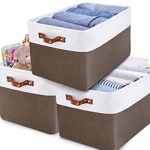 Gimars Collapsible Storage Bins Sturdy & Soft Linen Fabric for Closet and Dog Toys, Kids, Children Toys, Blanket, Clothes Nice for Playroom Living Room, Shelves (Brown)