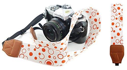 Mind Care Essentials - Correa de hombro para cámara réflex digital y compacta, diseño retro, color blanco con lunares rojos