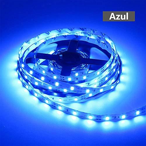 Bulufree Luces de Tira de LED 5M 3528 300LEDs Tira de luz Luz de Noche LED Flexible Luces de Navidad LED Luces de Cuerda LED no Impermeables Luz de Cinta LED para Barra DC 12V Azul