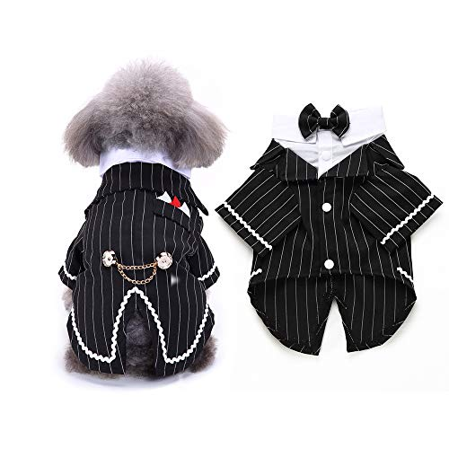 Gentleman Dog Shirt Puppy Pet Small Dog Clothes Pet Suit Bow Tie Costume  Cat Wedding Shirt Formal Tuxedo with Black Tie  Dog Prince Wedding Bow Tie Suit (M  Black)