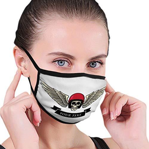 Mund Gesicht waschbar wiederverwendbar für Mann Frau Schädel Helm Flügel Logo Vorlage Vintage Motorc Soft
