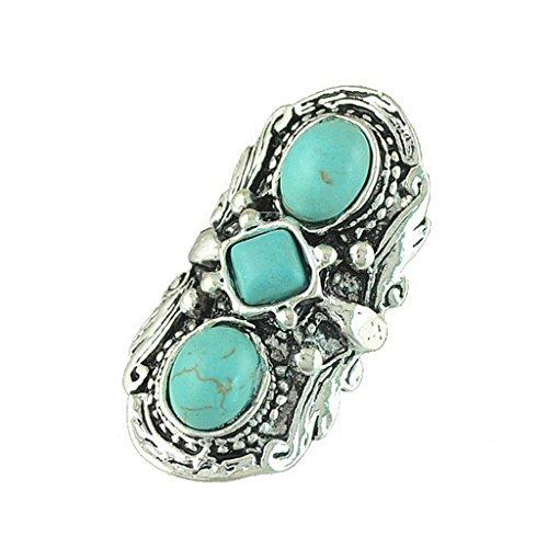 Vintage Tibetanische Türkis Fingerring Geschnitzt Hippie Gypsy Verstellbaren Ring