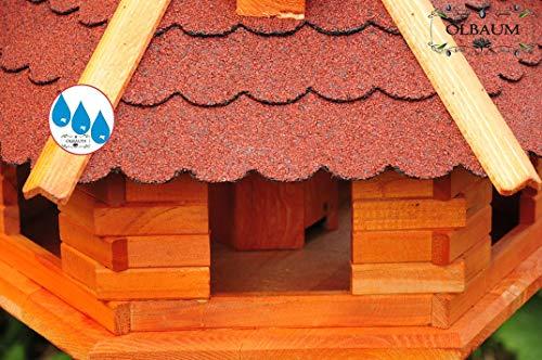 Vogelhaus-Futterhaus Massivholz,BTV PREMIUM Vogelhäuser, XXL ca. 70-75 cm, wetterfest Massivdach, mit Ständer / mit Standfuß und Silo,Futtersilo für Winterfütterung -Holz Nistkästen & Vogelhäuser- aus Holz Holz rot mit Ständer BGX75roMS rote Bitumenschindel - 3