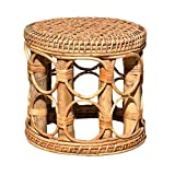 Yililay Plant Holder Flower Stool Stand Shelf Rattan Woven Handmade Large for Indoor Gardening Decor
