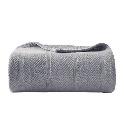 Eddie Bauer | Herringbone Collection | 100% Cotton Light-Weight and Breathable Blanket, Cozy and Soft Throw, Machine Washable, King, Chrome
