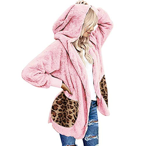 Alwayswin Herbst und Winter Mantel Damen Plüsch Strickjacke Bequem Warme Sweatjacke Casual Leopard Kapuzenjacke Taschen Übergroße Hoodie Mode Wild Fuzzy Outwear Jacken Pullover