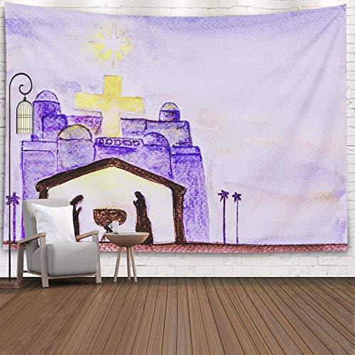 BOBO-Shop Wandteppich Wall Hanging Tapestry Hand zeichnen Aquarellpapier Jesus Geburtsstern Nachthimmel Gelbes Licht Kreuz Gebäude Wanddeko für Kinderzimmer Wohnzimmer Schlafzimmer auch