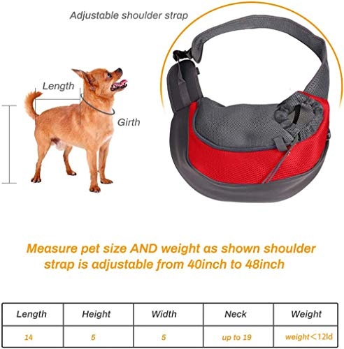 Achort Pet Carrier Hand Free Sling Puppy Carry Bag Small Dog Cat Traverl Carrier with Breathable Mesh Pouch for Outdoor Travel Walking Subway 12LB (Red) 5