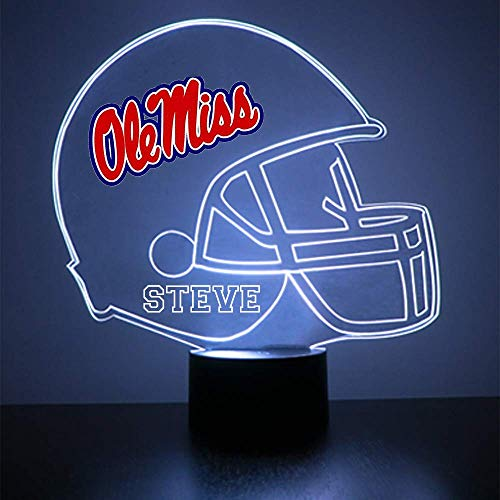 Mirror Magic Store Ole Miss Rebels Football Helmet Sports Fan Lamp/Night Light - LED - Personalize for Free - Featuring Licensed Decal