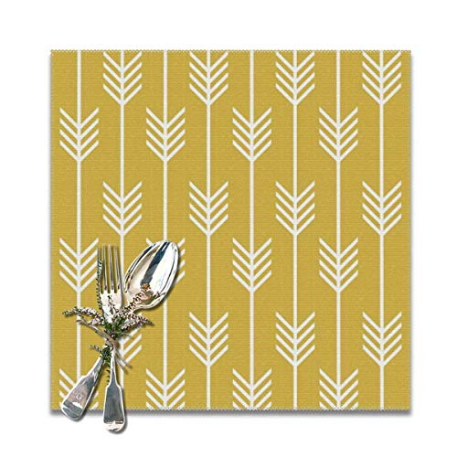 jhgfd7523 Modern Arrow Fletching Pattern Mustard Yellow Placemats Set of 6 Washable Non Slip Table Place Mats Square 12' x 12' for Kitchen Dining Table Home Decoration