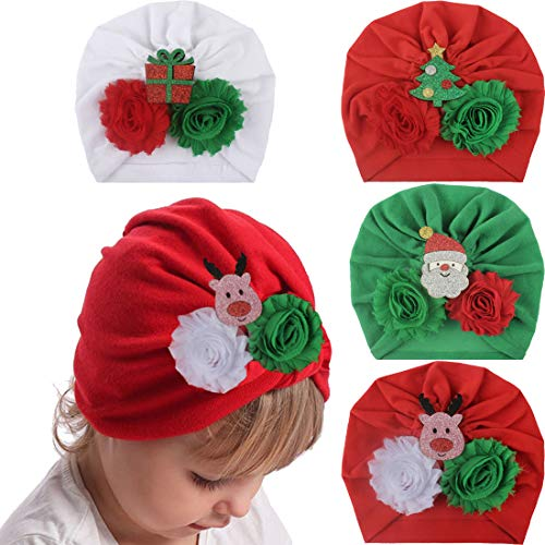 JUMJEE Baby Turban Christmas Hats Newborn Infant Caps Flower Head Wraps Hair Accessories Gifts for Toddler Kids(Set 15)