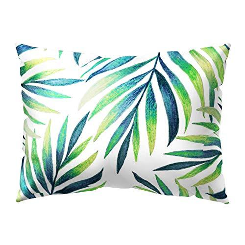 quanjucheer Funda de cojín rectangular con hojas verdes tropicales para sofá cama