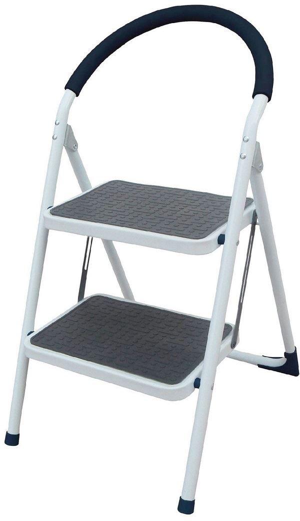 Escalera de metal, resistente, plegable, 2 peldaños, antideslizante, agarre de goma: Amazon.es: Hogar