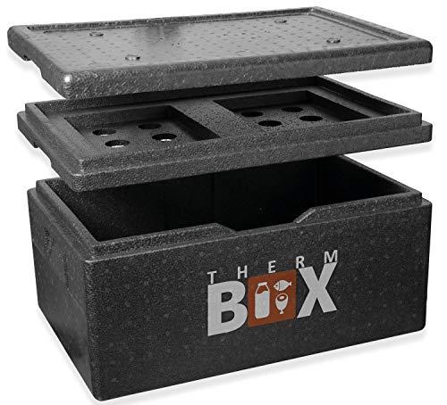 THERM BOX Styroporbox Groß 40 Liter mit Kühlfach Isolierbox Thermobox Warmhaltebox Kühlbox Thermobehälter GN Innen: 53,9x34x21,9cm