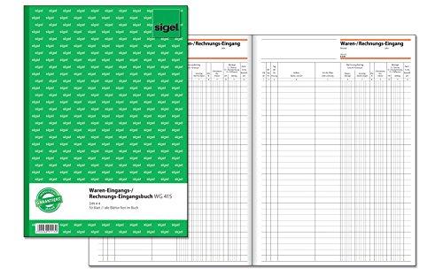 SIGEL WG415 Waren- / Rechnungs-Eingangsbuch, alle Blätter fest im Buch, A4, 50 Blatt