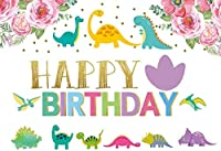 新しい250x180cmの女の子の恐竜の背景赤ちゃんの誕生日パーティーの写真の背景花ゴールデンポルカドットの背景キッズデザートケーキテーブルバナーパーティーの装飾写真ブースの小道具
