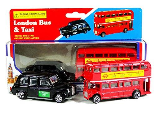 Diecast London Bus und London Taxi Zusammenstellung (Mini) Souvenir Original - Bewegungsrad Aktion - Besichtigung - einsteigen aussteigen - Spielzeug - 5 Passagier Kabine - Hackney Cab - London Souvenir