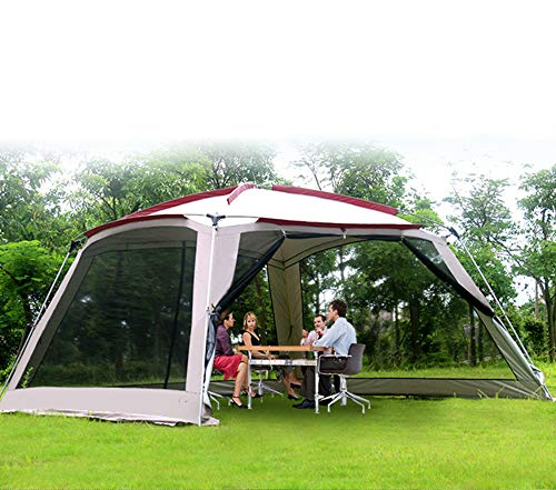 MAQRLT Pop Up Gazebos with Sides, Pergola Outdoor Camping Awning Barbecue Beach Multi-Person Canopy Tent Anti-Mosquito Sunscreen Picnic Garden Big Tent, 365 * 365 * 220Cm