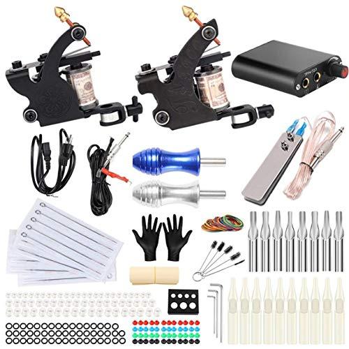 CN-WSC Tattoo Kit de Tatuaje Completo Kit de Fuente de alimentación para Tatuaje 20 Agujas de Tatuaje Kit de máquina de Tatuaje Tattoo Supplies
