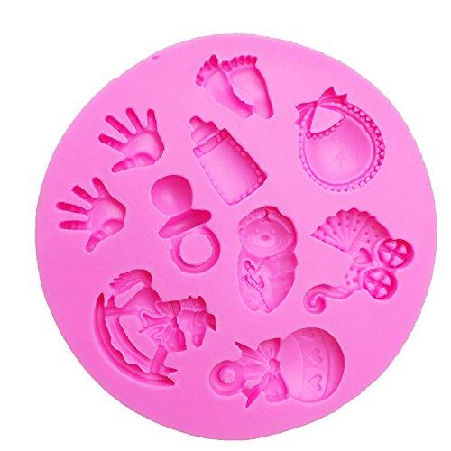 XIAOM Molde de Torta Bebé DIY Mano/Trojan/Botella/Pie/Carruaje Molde de Silicona Torta Herramientas de decoración