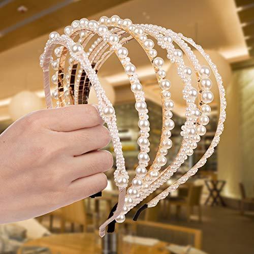 Comius Sharp 6 Stück Haarreifen mit Perlen für Frauen und Mädchen, Elegant Weiße Kunstperle Stirnband, Kopfschmuck Haarbänder Haarschmuck für Hochzeit, Geburtstag, Party (B)
