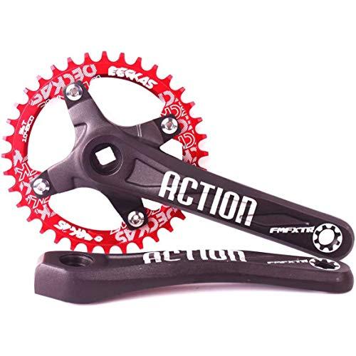 DZGN Bielas MTB Plato, Ciclismo Chainset 104BCD Platos Conjuntos 32-42T, la Cadena de aleación de Aluminio de manivela Oval Redondo para Shimano, FSA Gaint,Rojo,34T*Round