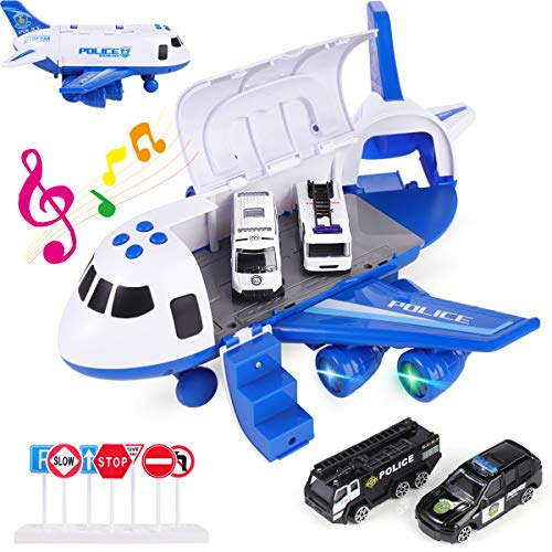 cjc Kids Music Airplane Police Car Toy Play Set with Transport Cargo,Plane w Mini Vehicle Car Toys Playset,Birthday Gifts for 3+ Years Old Boys and Girls