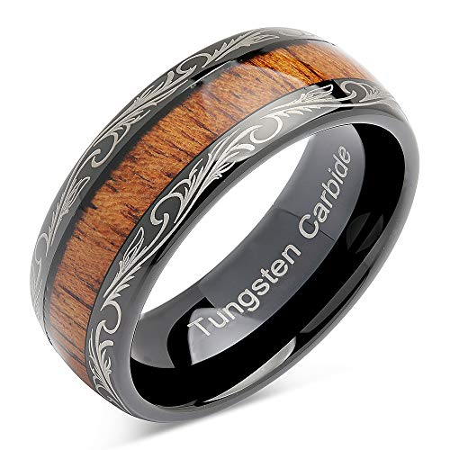 100S JEWELRY Tungsten Rings for Men Wedding Band Koa Wood Inlaid Dome Edge Comfort Fit Size 6-16 (13.5)