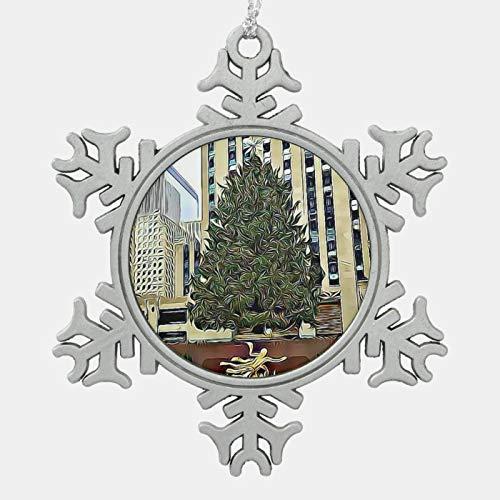 NYC Rockefeller Tree Skating Rink Christmas Snowflake Pewter Christmas Ornament