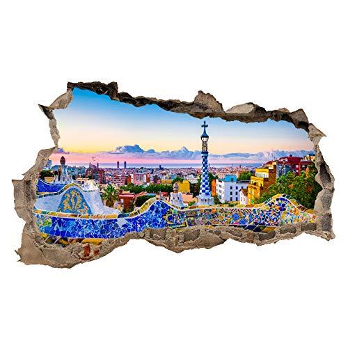 3D Wandtattoo Mauerloch Wandsticker Wandaufkleber Durchbruch Städte Landschaft selbstklebend H 60 x B 100 Schlafzimmer Wohnzimmer (WL43 Barcelona)