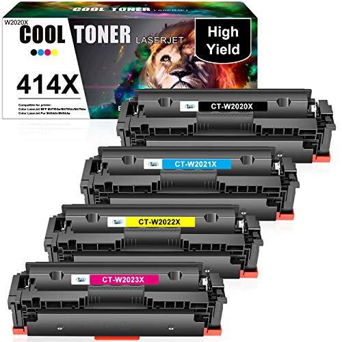 Cool Toner Compatible Toner Cartridge Replacement for HP 414X W2020X 414A W2020A HP Color Laserjet Pro MFP M479fdw M454dw M479fdn M454dn M479 M454 Printer Ink (Black Cyan Magenta Yellow, 4-Pack)