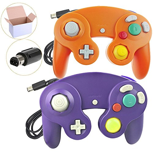 Poulep 2 Packs Classic NGC Wired Controllers for Wii Gamecube (Orange and Purple)
